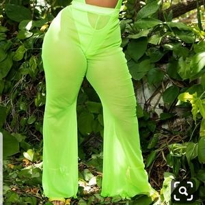 Last Chance 11/15**Plus Neon Lime Mesh Flare Pants